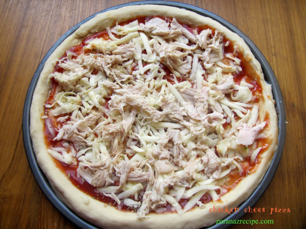 chicken chees pizza..,
