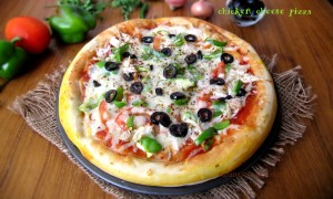 Easy homemade chicken cheese pizza