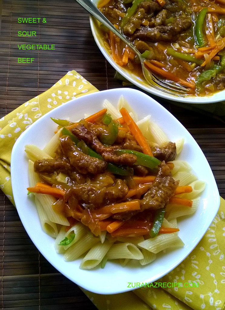 sweet and sour vegetable beef..
