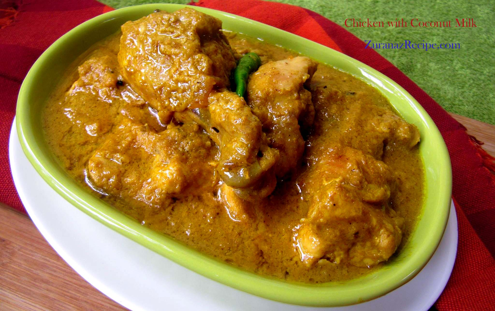 Chicken curry with coconut milk – Narikel dudhe murgi