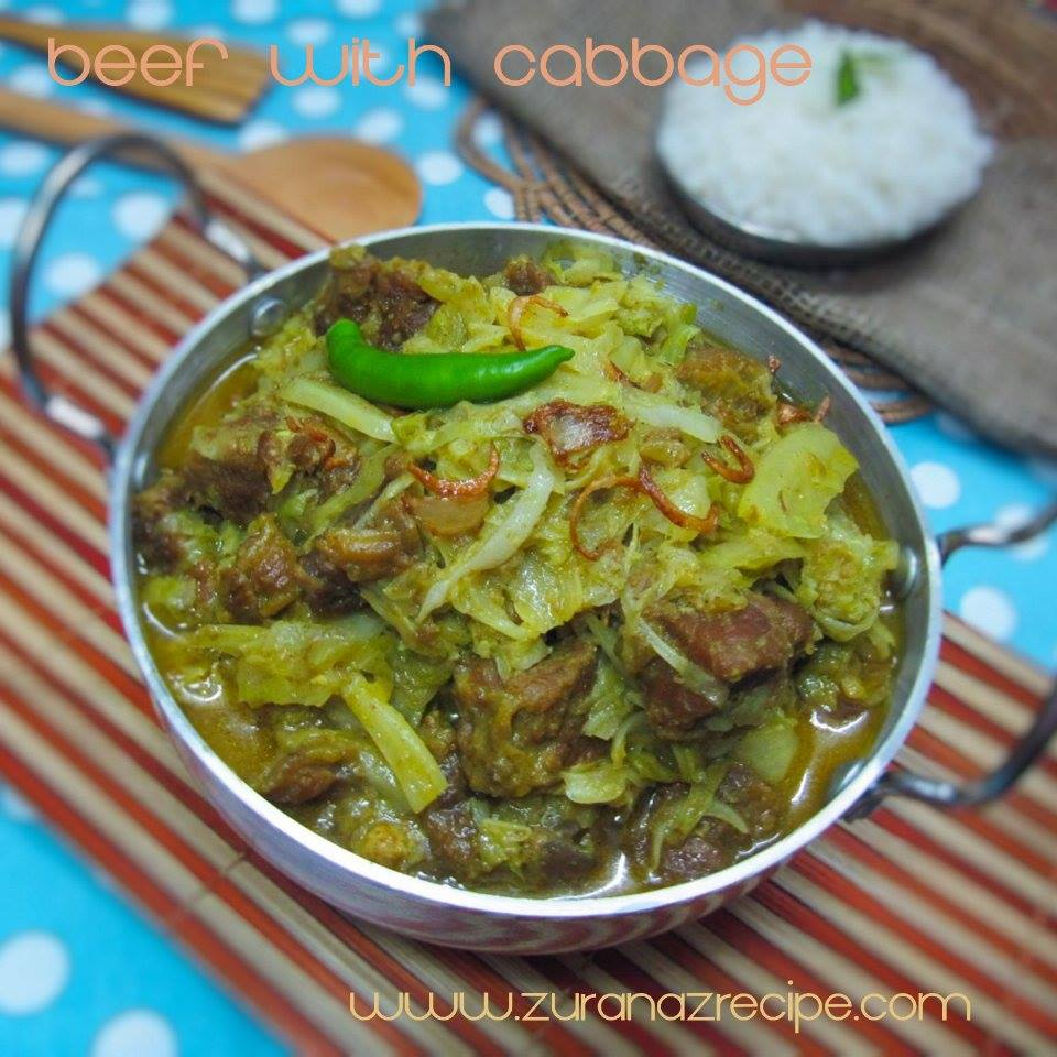 Beef Curry with Cabbage-Badhacopi Gorur Mangsho