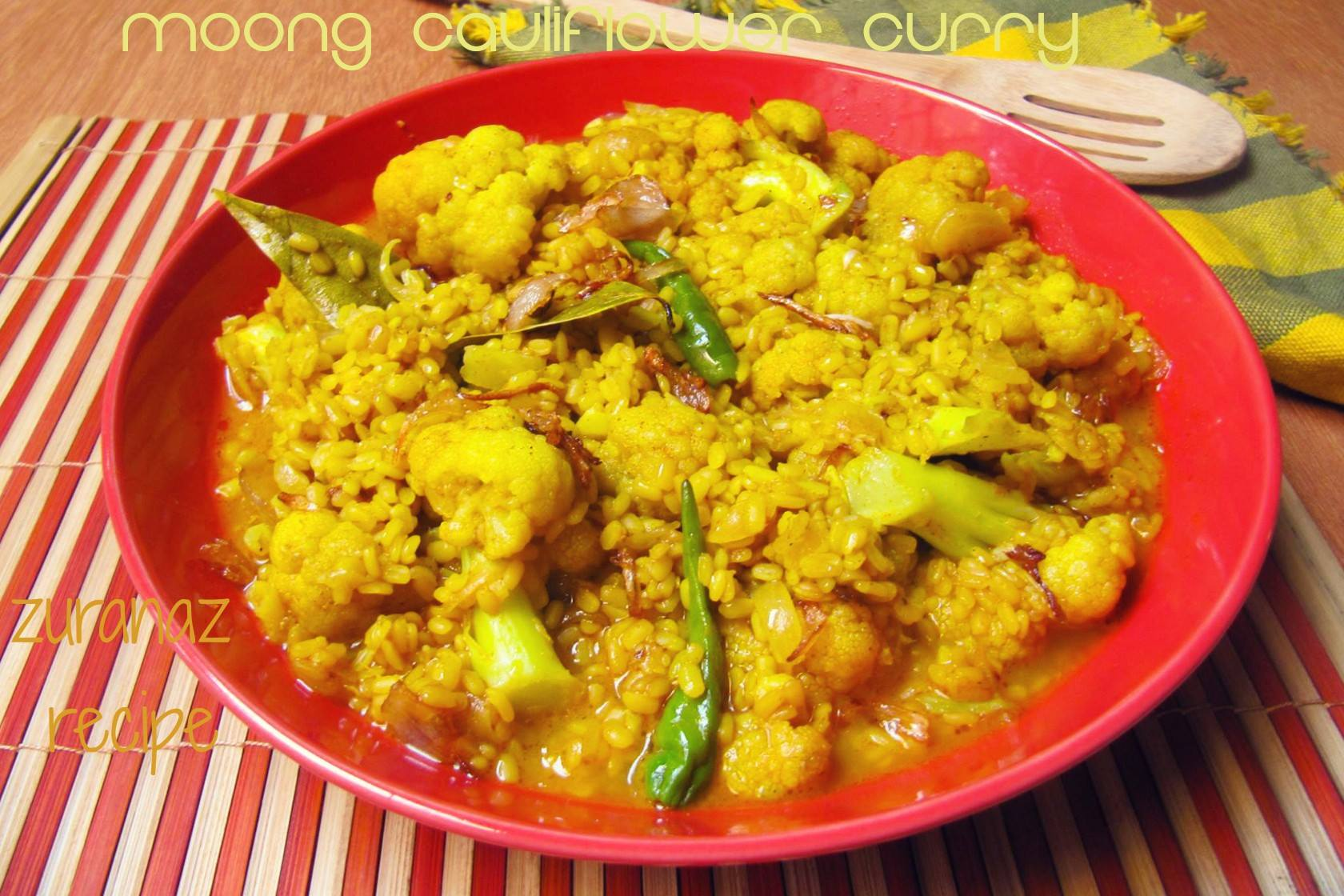 Moongdal with Cauliflower/Vegetable and Lentil Curry