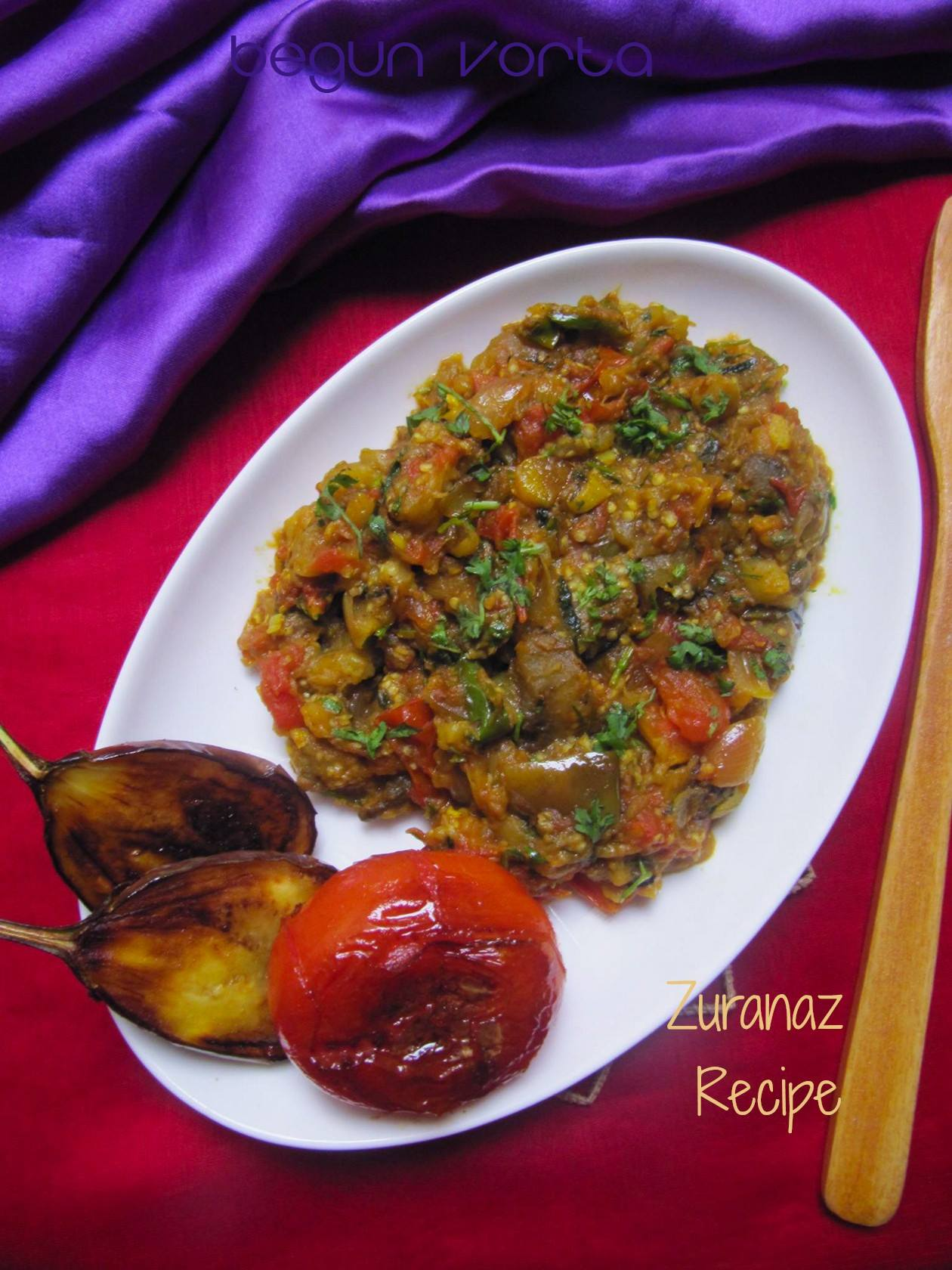 Begun Bhorta/Spicy Begun Bhorta/Spicy Mashed Eggplant/Brinjal Bhorta