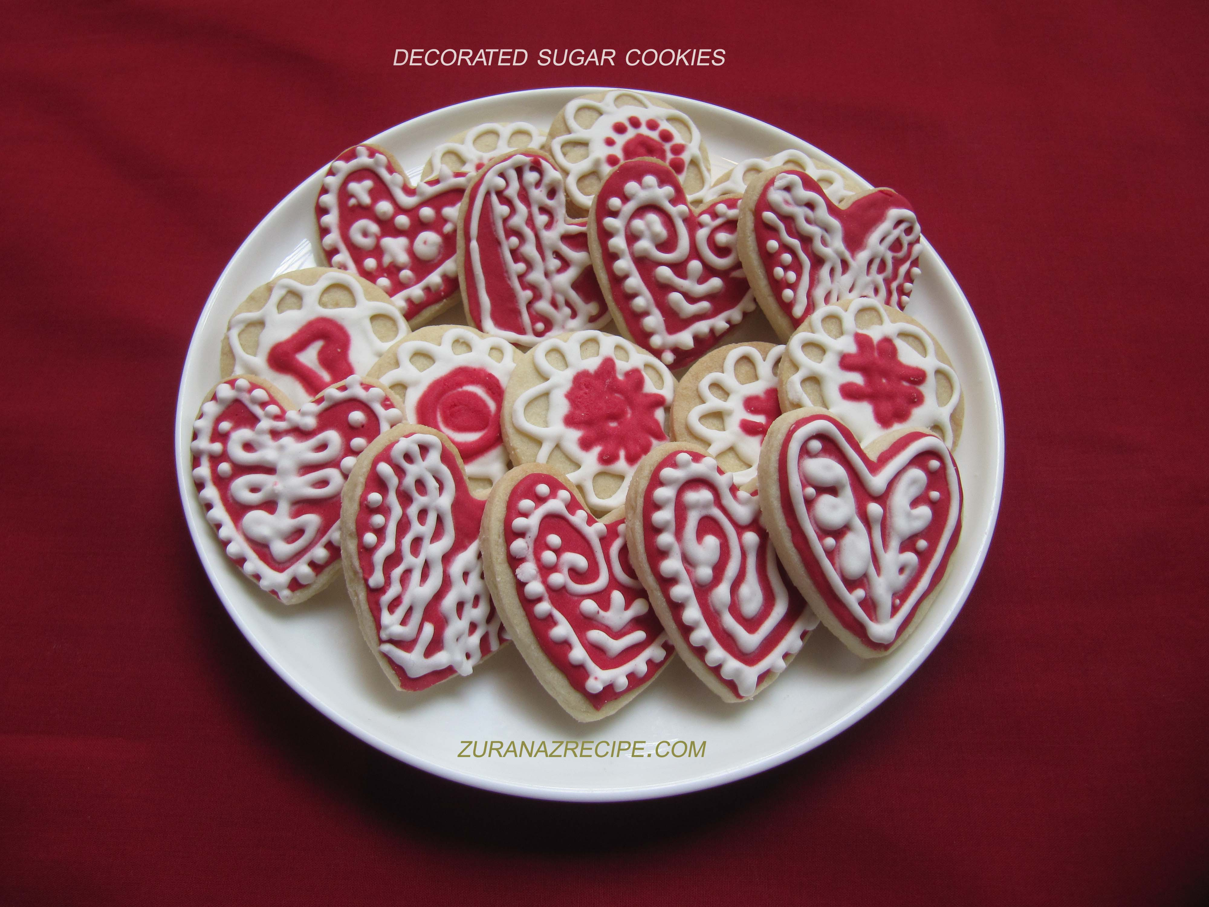 Red & White Decorated Sugar Cookies