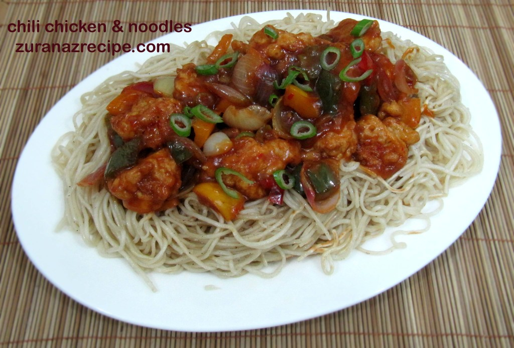 chili chicken & fried noodles ||chinese chili chicken noodles recipe video